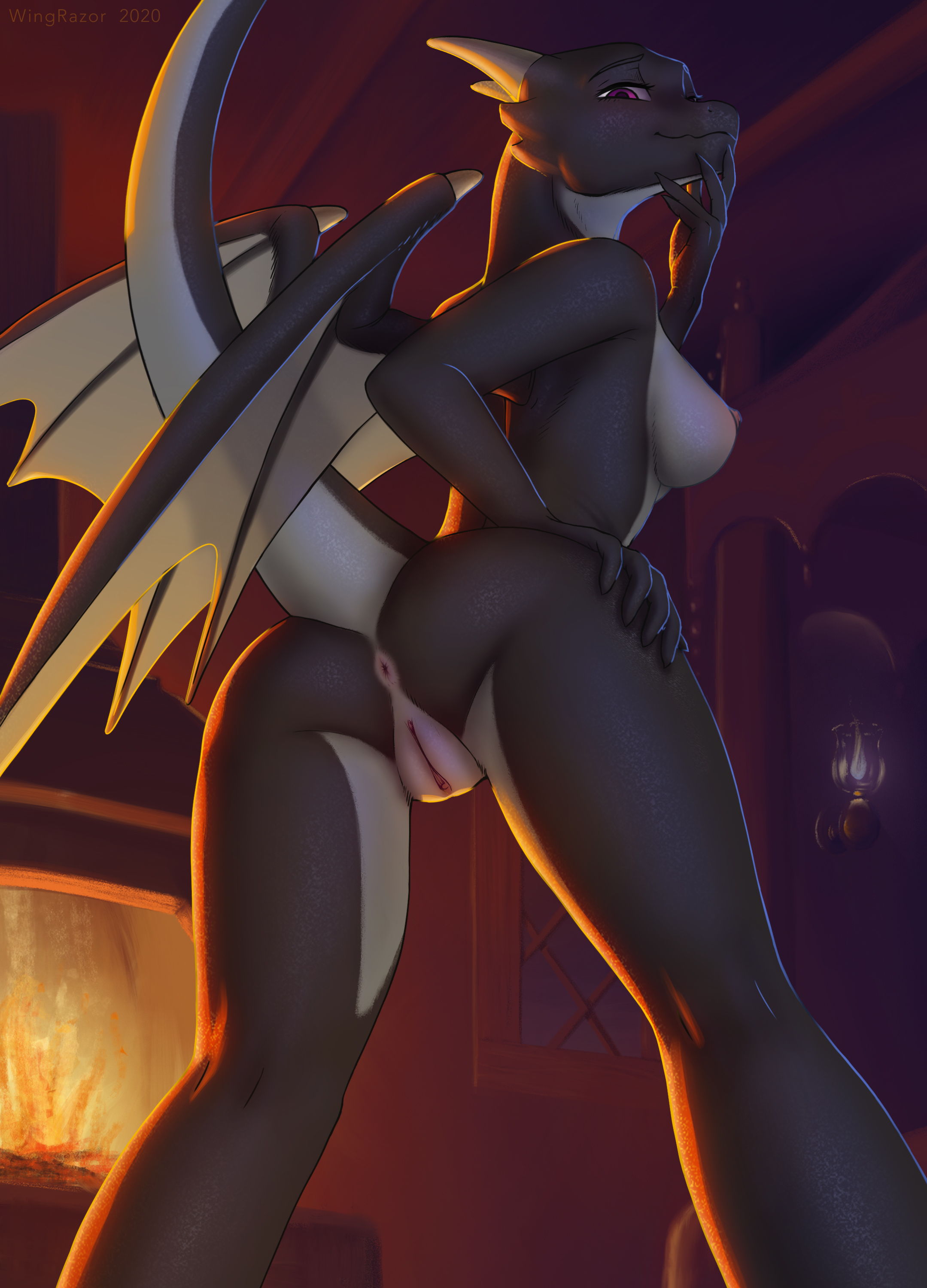 hi res absurd res alyaa anthro anus areolae ass black body black claws black scales black wings breasts claws dark dragon female fingers finger claws fire firelight fireplace genitals hand on hip lamp looking at viewer looking back low-angle view membrane membranous wings nipples purple eyes pussy raised tail rear view scales scalie smile smirk solo touching face white body white scales wingrazor wings