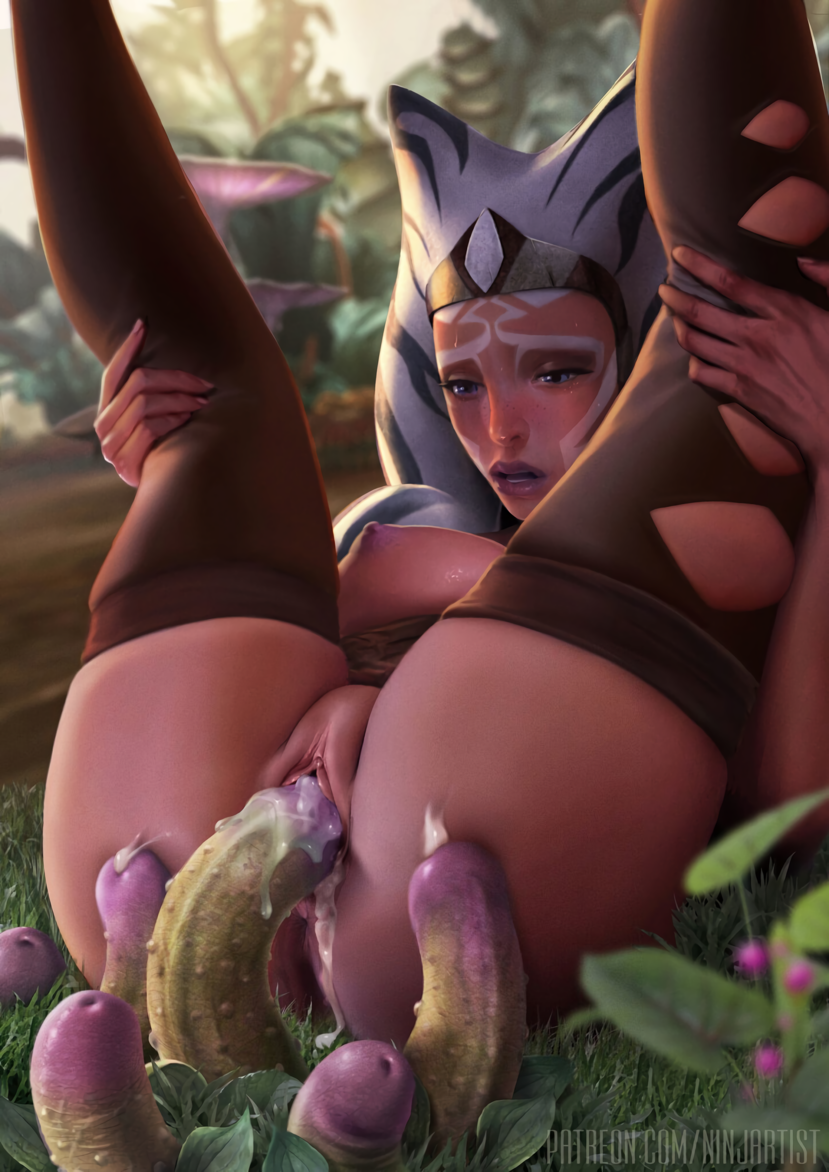 ninjartist ahsoka tano star wars alien girl areolae breasts cum cum in pussy female legs up leg grab nature nipples open mouth penetration penis plant pussy stockings sweat tentacle thighhighs vaginal penetration wet