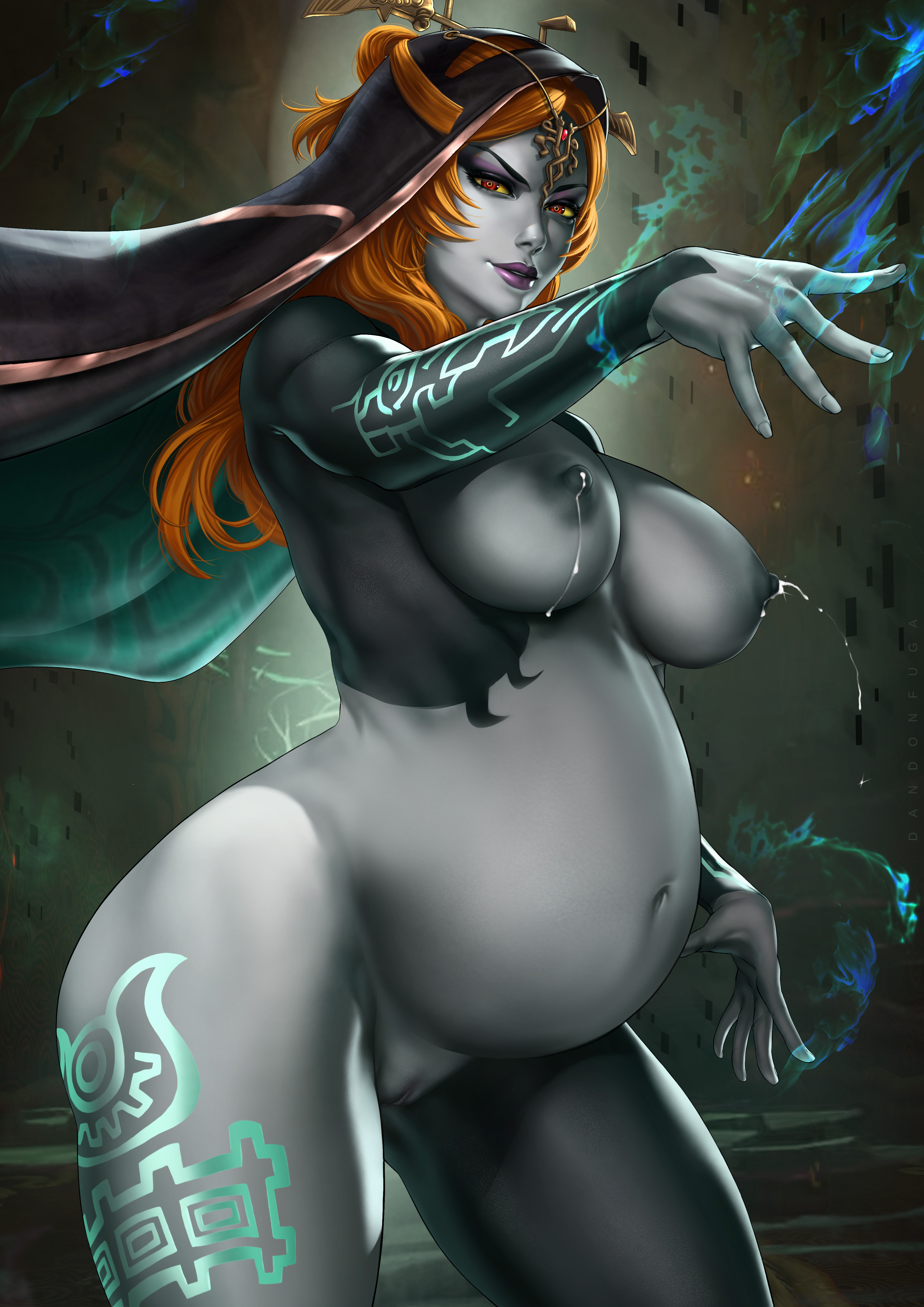 dandon fuga midna twili midna absurd res nintendo twilight princess the legend of zelda 1girls areolae breasts grey skin lactating lactation long hair magic milk naked nipples nude orange hair pregnant purple lipstick pussy ready to pop red eyes tattoo veil yellow sclera