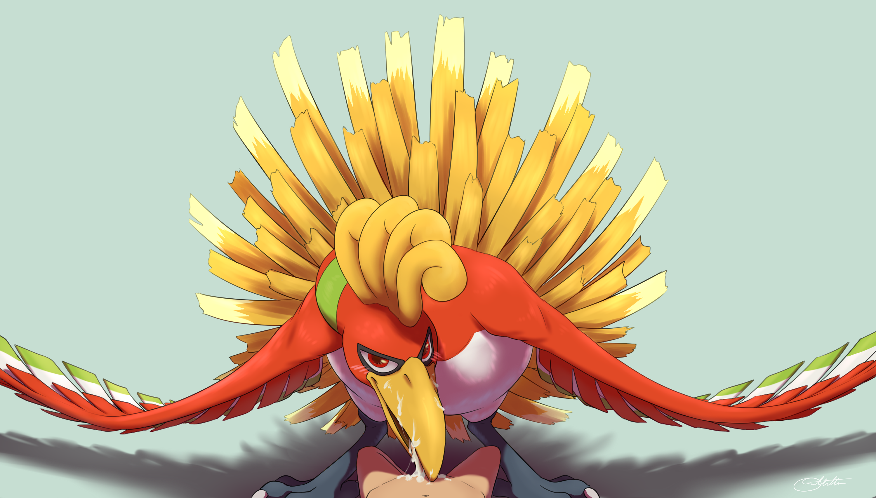 ho-oh absurd res pokemon nintendo blowjob blushing cum cumshot cum in mouth cum on face facial featherie fellatio feral interspecies looking at viewer
