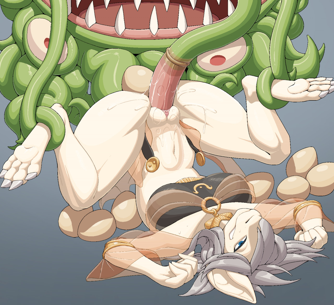 pata 2020 aliasing ambiguous gender ambiguous penetrating ambiguous penetrating female anthro blue eyes bodily fluids bottomless breasts claws clothed clothing duo female female/ambiguous female penetrated genital fluids green body green skin grey background grey hair hair legs bound monster penetration piledriver position pussy juice scalie sex sharp teeth simple background solo focus stomach bulge sweat tan body teeth tentacle tentacle monster tentacle sex topwear translucent translucent clothing vaginal penetration