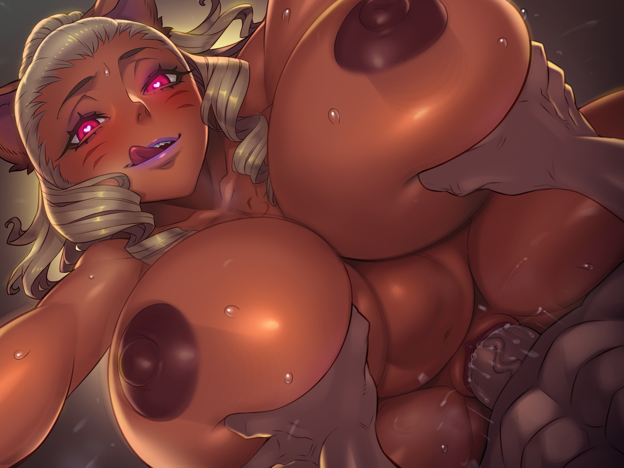 sethxzoe mhu'tiki legend of queen opala 1girls ahe gao animal ears areolae arm grab blonde hair breasts catgirl cat ears cat tail cum cum explosion dark-skinned female dark skin doggy style ejaculation huge breasts long hair mole mole on breast naughty face nipples penetration pussy juice seductive seductive smile sex shortstack smile stomach bulge straight tail tattoo thick thighs vaginal penetration