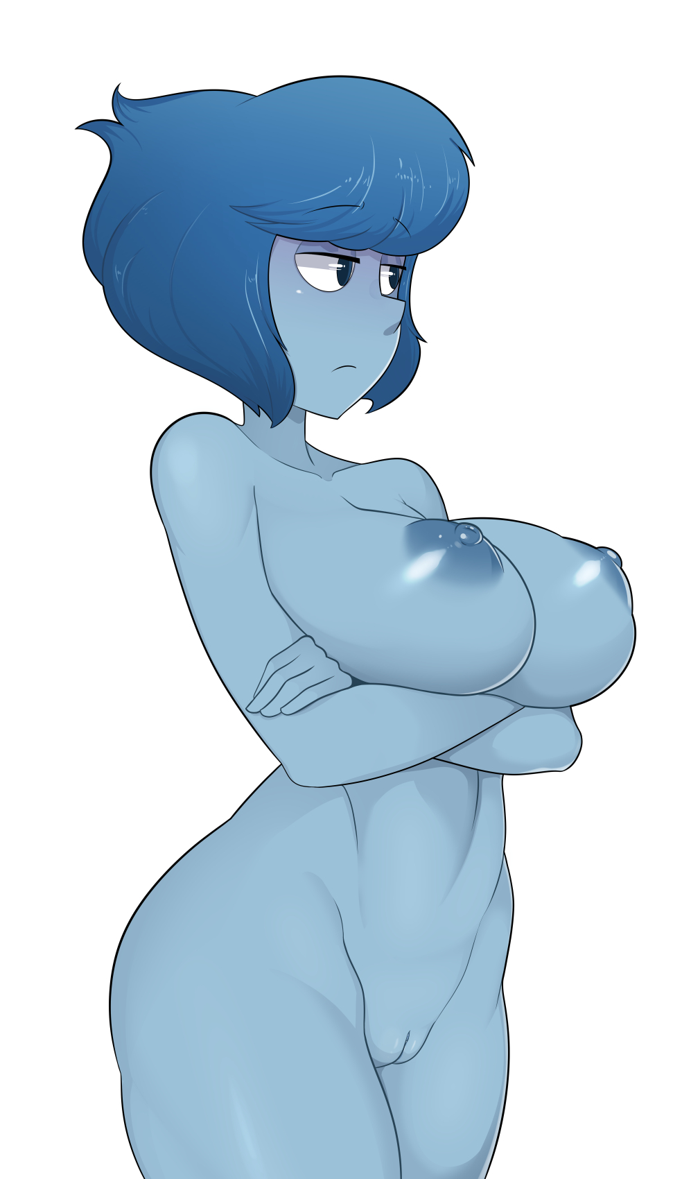 A naked girl blue skin