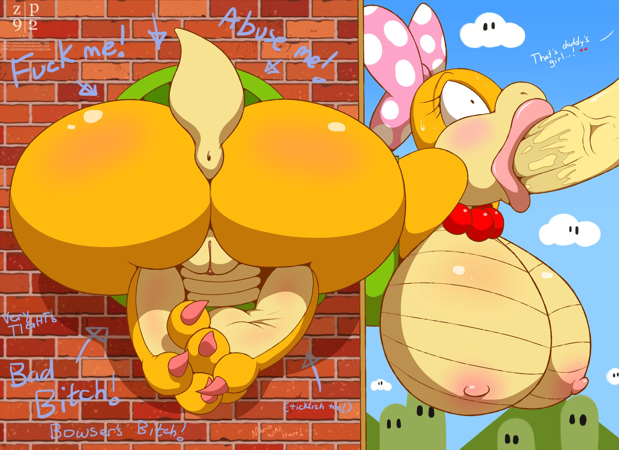 zp92 koopa koopaling wendy o. koopa 2018 text hi res highres english text digital media nintendo 3 toes <3 accessory anthro anus areola areolae bead necklace big breasts big butt big penis blush bodily fluids breasts butt claws dialogue duo erection erect nipples faceless character faceless male feet fellatio female female penetrated forced forced oral genitals hair accessory hair bow hair ribbon huge breasts huge butt jewelry male male/female male penetrating male penetrating female naked necklace nipples non-mammal breasts nude oral oral penetration penetration penile penis public use pussy ribbons saliva scalie sex soles stuck sweat through wall toes toe claws vaginal penetration vein veiny penis video games