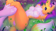 16:9 2020 anthro areolae breasts claws digimon digimon female flower fur genitals grass highres hi_res labia lying nipples on_back plant pussy renamon solo text url valkoinen vulva widescreen yellow_body yellow_fur