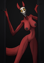 anthro areolae big_breasts breasts canine creepy english_text female fur kea mammal monster naked nightmare_waifu nipples nude pussy pyr3 red_fur scary_waifu scp-1471 scp_foundation skull solo text
