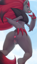 2016 anthro anus ass blue_eyes blush canine fangs female hi_res licking licking_lips looking_back low-angle_view mammal naked naughty_face nintendo nude pokemon pussy pussy_juice rear_view saliva simple_background slit_pupils smile solo spreading spread_ass standing stoic5 teeth tongue tongue_out video_games zoroark