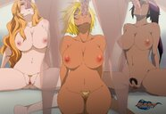3girls absurd_res bleach bleach_pixxx blonde_hair breasts dark-skinned_female dark_skin fellatio green_eyes interracial lexus long_hair matsumoto_rangiku oral orange_hair penetration penis pubic_hair purple_hair pussy saliva sex shihouin_yoruichi short_hair spread_legs tia_harribel vaginal_penetration