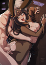 1girls against_wall ahe_gao ass big_breasts black_hair bodysuit breasts breasts_outside bunnysuit bunny_ears bunny_girl cum cum_inside fire_emblem fire_emblem:_awakening from_behind heart-shaped_pupils kinkymation long_hair robin saliva straight tears text tharja tongue tongue_out