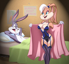 anthro bed breasts bugs_bunny drew_gardner female fur furry furry_breasts furry_ears hair indoors in_bed lingerie lola_bunny long_ears looking_at_another looking_back looney_tunes lying male mammal on_back open_robe rabbit short_hair smile standing whiskers
