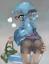 ass bent_over booty_shorts cameltoe glasses highres inkling looking_at_viewer looking_back presenting pussy pussy_juice pussy_juice_string splatoon spread_cheeks sweaty wet_pussy