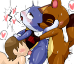 all_fours anal anal_penetration anal_sex animal_crossing anthro anthro_on_anthro anthro_penetrated anthro_penetrating anthro_penetrating_anthro anthro_penetrating_human black_eyes blue_body blue_fur blush bodily_fluids bouncing_butt brown_body brown_fur brown_hair canid canine checkered_topwear closed_eyes clothed clothed/nude clothed_male_nude_male clothing cum dipstick_tail domestic_cat drooling enigi09 felid feline felis fellatio fluffy fluffy_tail fucked_silly fur genitals genital_fluids group group_sex hair hand_on_head heart hip_grab human human_on_anthro human_penetrated interspecies looking_up male male/male male_penetrated male_penetrating male_penetrating_male mammal motion_lines multicolored_tail naked nintendo nude open_mouth oral penetration penile penis pink_penis precum raccoon_dog rough_sex rover saliva sex simple_background speech_bubble standing standing_sex striped_body striped_fur stripes sweat tanuki tan_body tan_fur tan_skin tears threesome tom_nook train_position vaginal_penetration video_games villager white_background