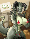 anthro anthrofied areolae bethesda_softworks big_breasts bikini breasts chobonolly claws clothed clothing curved_horn deathclaw detailed_background egg erect_nipples fallout genitals gynomorph hi_res horn huge_breasts intersex looking_at_viewer muscular muscular_intersex nipples nipple_slip non-mammal_breasts outside penis pictographics scalie sharp_teeth skimpy smile solo speech_bubble spikes steam swimwear teeth video_games wide_hips