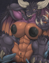 abs anthro areolae black_nipples breasts clitoris dragon hyper_breasts looking_at_viewer nipples presenting pussy scalie spread_legs