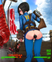 1girls 2019 anal anal_insertion anal_object_insertion anal_penetration anus armor ass back belt bent_over big_ass black_hair blue_eyes blush bodysuit bottle bottomless breasts clouds color day fallout foot gun happening18 highres high_resolution holding hook hud improvised_sex_toy large_breasts large_insertion leaking looking_at_viewer looking_back meat outdoors penetration pip-boy pussy short_hair skintight_suit sky standing text thigh_gap torn_clothes vagina vault_suit weapon wet wince _vault_girl