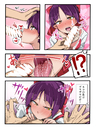 !? bangs bar_censor blush bow brll cat_girl cat_tongue censored choker comic dress eyebrows_visible_through_hair fellatio gegege_no_kitarou hair_bow hand_on_another's_head hand_on_head heart heart-shaped_pupils hetero highres long_sleeves nekomusume nose_blush open_mouth oral pain parted_bangs penis penis_awe petting pointy_ears purple_hair red_bow red_choker red_dress saliva shirt short_hair symbol-shaped_pupils tongue tongue_out white_shirt yellow_eyes