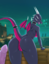 absurd_res activision anthro ass breasts cynder detailed_background dialogue dragon duo english_text female genitals hi_res long_tail looking_at_viewer looking_back male membrane membranous_wings multicolored_body multicolored_scales naked nude penis pink_body pink_scales pink_tail pink_wings purple_body purple_scales purple_tail purple_wings pussy raised_tail rear_view reptile scales scalie small_wings solo_focus spyro_the_dragon text two_tone_body two_tone_scales two_tone_tail two_tone_wings unrealcereal video_games wings