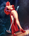 absurd_res disney high_heels jessica_rabbit looking_at_viewer microphone red_dress red_hair showing_off who_framed_roger_rabbit xxnikichenxx