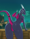 absurd_res activision anthro ass breasts cynder detailed_background dialogue dragon english_text female genitals hi_res long_tail looking_at_viewer looking_back membrane membranous_wings multicolored_body multicolored_scales naked nude pink_body pink_scales pink_tail pink_wings purple_body purple_scales purple_tail purple_wings pussy raised_tail rear_view reptile scales scalie small_wings solo spyro_the_dragon text two_tone_body two_tone_scales two_tone_tail two_tone_wings unrealcereal video_games wings