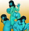 1girls absurd_res alien anal anal_juice anal_penetration anal_sex autofellatio bent_over black_hair blue_eyes blue_skin blue_tongue corruption digital_media female hair humanoid lips looking_back modeseven open_mouth parasite parasite_infection penetration post_transformation pussy rear_view smile solo sweat tentacle third-party_edit transformation wide_hips