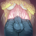 1futa autopaizuri aya big_breasts blue_jeans breasts bulge futanari grey_hair highres huge_balls huge_cock jeans penetration penis urethral_beads urethral_insertion urethral_penetration veiny_penis yellow_dress