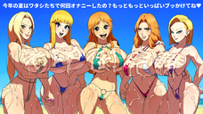 5girls akimoto_katherine_reiko android_18 aqua_eyes areolae areola_slip ass bleach blonde_hair blue_eyes breasts brown_eyes cameltoe clavicle crossover cum cum_on_body cum_on_breasts dragon_ball dragon_ball_super dragon_ball_z erect_nipples female hand_holding hazel_eyes hori_hiraki kochikame lips long_hair matsumoto_rangiku mole multiple_girls nami naruto navel nipples one_piece open_mouth orange_hair short_hair string_bikini swimsuit thick thick_thighs thighs tsunade twintails