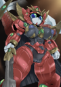 1girls absurdres android areolae black_breasts black_hair blue_eyes breasts clitoris female forehead_jewel green_sclera gundam gundam_build_divers gundam_build_divers_re:rise helmet highres high_resolution horns hybrid innie_pussy inverted_nipples jewelry looking_at_viewer looking_down nipples no_mouth pochincoff purple_nipples purple_pussy pussy red_skin robot robot_girl standing sword uncensored valkylander weapon