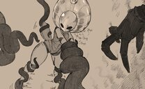 anthro big_ass breasts female godseeker heavy_breathing highres hollow_knight napalm_express restrained restrained_arms shade_lord tendrils tentacle thicc thick_thighs void