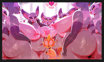 1boys 7girls ahe_gao anthro areolae big_belly blushing breasts dripping_pussy drooling eyeshadow feline furry highres huge_ass huge_breasts lactation leaking_pussy long_nipples meowth naked nintendo nipples nude pink_nipples pokemon pubic_hair puffy_nipples purugly pussy saliva_string size_difference sweaty text thicc tongue_out wet_pussy