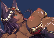 animal_ears animal_humanoid areolae blue_eyes blush breasts brown_skin cum cum_on_breasts cum_on_stomach dark_skin egyptian fate fate/grand_order female hair headdress humanoid jewelry kaorihero long_hair nipples open_mouth queen_of_sheba side_view smile solo
