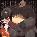 2020 balls big_penis blush bodily_fluids cinderace cum duo genitals genital_fluids heart highres hi_res huge_cock humanoid_genitalia humanoid_penis male male/male nintendo pangoro penis penis_size_difference pokemon sweat syuro text translation_request video_games