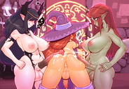 3futas animal_genitalia anus artist_name asuila balls big_ass breasts cock_on_ass cum cumshot cum_on_anus cum_on_ass dickgirl francisca_valero futanari futa_only futa_sans_pussy green_eyes highres horns horsecock large_breasts large_testicles medial_ring pussy rear_view red_hair rubbing sheath shinki threesome witch_hat