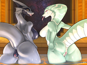 4:3_aspect_ratio anthro anus ass breasts dragon duo female furry looking_back naked nude presenting reptile sajik scalie smile snake take_your_pick thicc thick_thighs thighs tongue tongue_out vagina