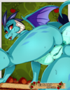 2020 absurd_res anthro anus avante92 blue_body blue_scales bodily_fluids butt digital_media dragon female friendship_is_magic genitals hasbro hi_res horn looking_at_viewer looking_back membrane membranous_wings my_little_pony naked nude open_mouth princess_ember pussy red_eyes scales scalie solo sweat wings