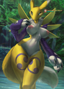 anthro areolae armwear blue_eyes breasts claws clothing detailed_background digimon digimon_adventure digimon_frontier female female_only forest fur genitals hi_res mane momobeda naked nipples nude pinup pose pussy renamon sleeves solo standing thigh_gap tree water waterfall white_body white_fur yellow_body yellow_fur yin_yang